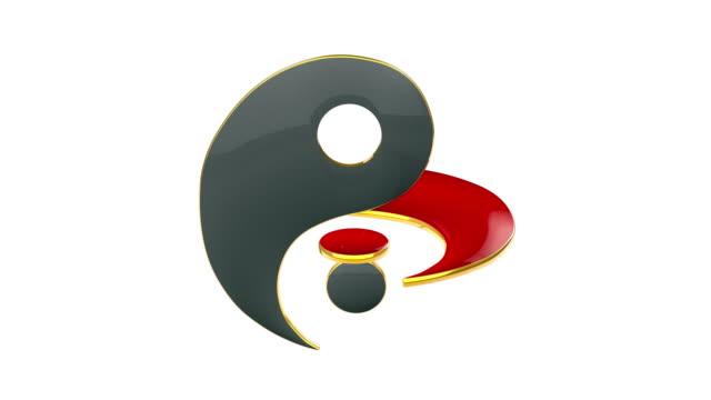 yin yang (föreningen och connection. yin yang (energin i livet). ständig kamp mellan två motsatser. österländsk kultur och filosofi. 3d-animation symbol för evig kärlek). österländsk kultur och filosofi. 3d-animering - acupuncture bildbanksvideor och videomaterial från bakom kulisserna