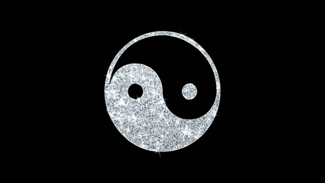 Yin & Yang Symbol Animation Yin Yang Taoism Buddhism  Glith Icon Sparkling Shining White Blinking Particles Diamond Glitter Loop Light 4K Animation Alpha Channel. yin yang symbol stock videos & royalty-free footage