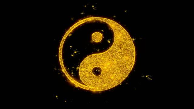 Yin Yang Symbol Of Harmony  Icon Sparks Particles on Black Background. Yin Yang Symbol Of Harmony  Icon Sparks Glitter Particles on Black Background. Shape, Design, Text, Element, Symbol Alpha Channel 4K Loop. yin yang symbol stock videos & royalty-free footage
