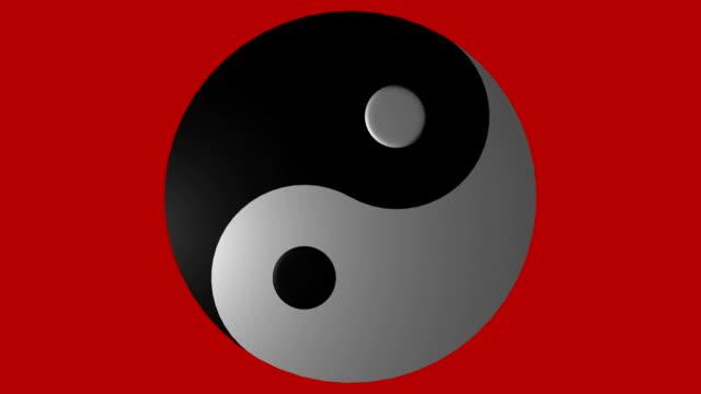 Yin Yang A spinning Yin Yang simbol on a red background (loop). yin yang symbol stock videos & royalty-free footage