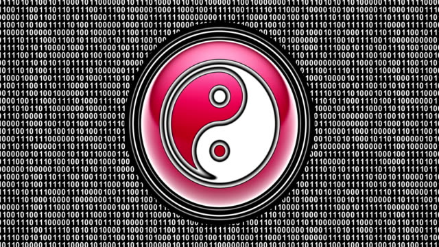 Ying-Yang icon on the screen. Binary code ( array of bits ) in looping footage. yin yang symbol stock videos & royalty-free footage
