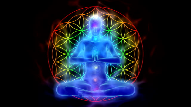 Yoga and meditation, symbol flower of life video
