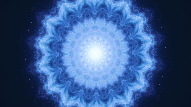 vídeos de stock e filmes b-roll de yoga, buddhism, oriental 4k seamless loop footage. zen energy balance concept. meditation flower changes its geometric shape. - buda