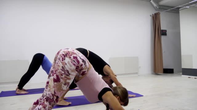 yoga class multi racial group exercising healthy lifestyle in fitness studio yoga asanas - donna forzuta video stock e b–roll