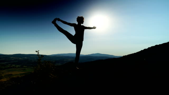 Yoga exercises in nature video