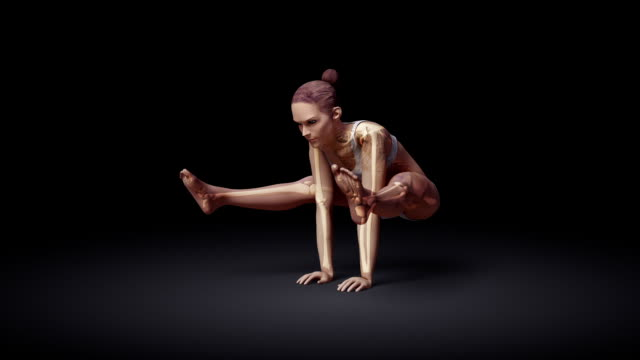 Yoga Firefly Pose Of Stretching Female With Visible Skeleton video