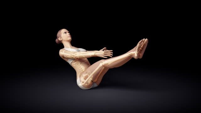 Yoga Floating Boat Pose Of Stretching Female With Visible Skeleton video
