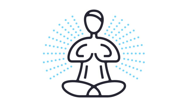 yoga icon animation - balance graphics video stock e b–roll
