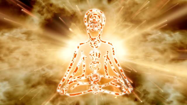 Yoga practice. Meditating Man. Chakras activation. video