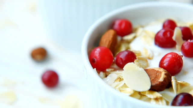 Yogurt with cranberries, almonds, oatmeal, almond flakes video