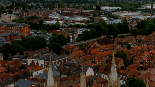 York, England, UK Aerial view of the York old town, city walls and countryside in Yorkshire, England, UK black and white architecture stock videos & royalty-free footage