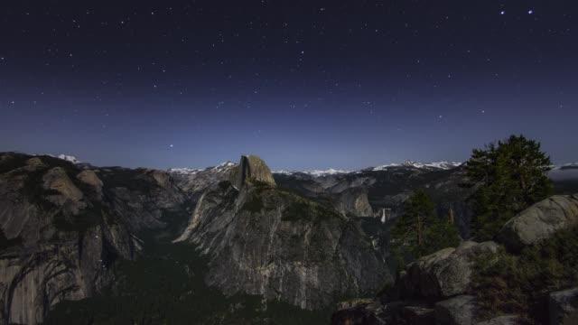 Yosemite National Park Moonset Milky Way Night Sky Timelapse