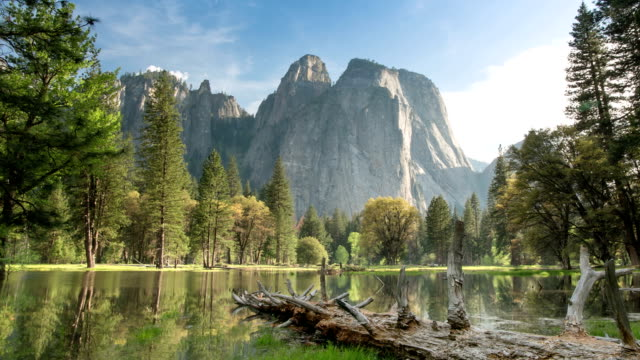 yosemite valley landscape - parco nazionale video stock e b–roll
