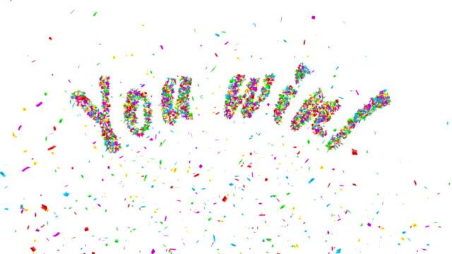 あなたの勝ち! 色付きの紙吹雪爆発。 - キラキラ 白背景点の映像素材/bロール