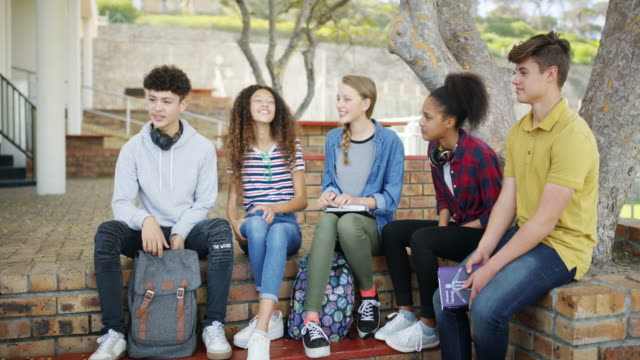 You'll never forget the friendships formed in high school 4k video footage of a group of teenage students hanging out during recess at high school teenagers stock videos & royalty-free footage