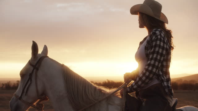 You'll never see a sunset like this in the city 4k video footage of a young woman riding a horse on a ranch at sunset cowgirl stock videos & royalty-free footage