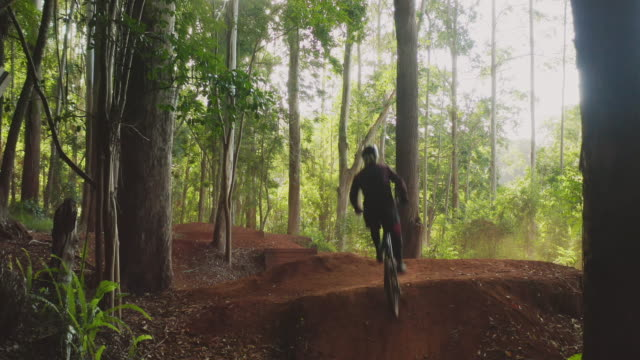 young active mountain biker jumping on dirt jumps - percorso per bicicletta video stock e b–roll