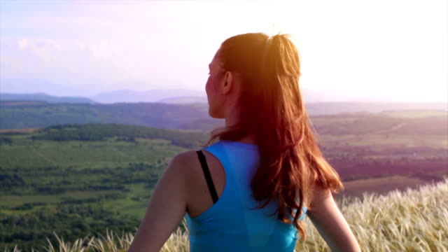 Young Active Successful Woman Raising Hands Nature Success video