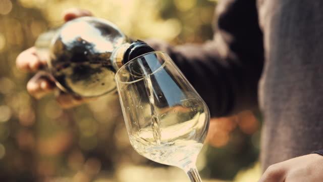 ung vuxen pojke häller vitt vin i ett glas. medium skott. - vitt vin glas bildbanksvideor och videomaterial från bakom kulisserna
