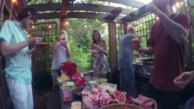 Young Adult  Eating Food Pool Party outdoor Summer BBQ video