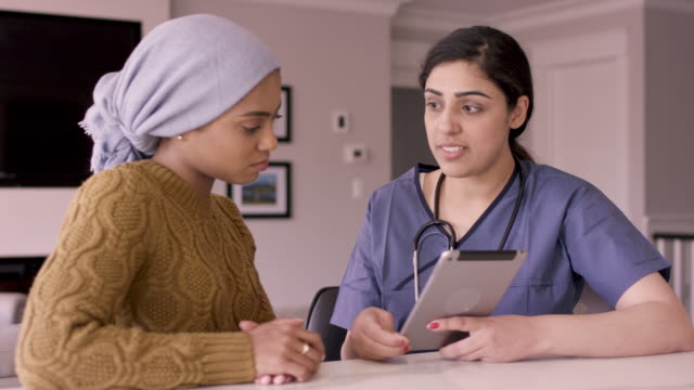 Young Adult Female With Cancer Talking To Her Nurse A beautiful young adult female with cancer is wearing a headscarf and having an in-home medical checkup with her ethnic female nurse. cancer patient stock videos & royalty-free footage