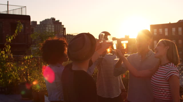 Young adult friends making a toast on a rooftop at sundown video