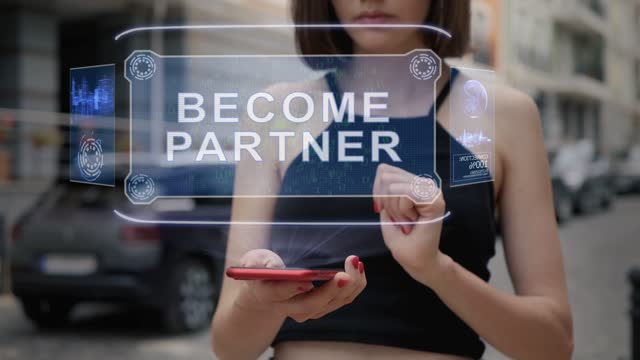 Young adult interacts hologram Become partner
