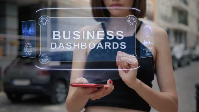 Young adult interacts hologram Business dashboards