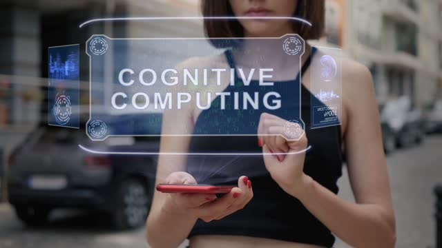 Young adult interacts hologram Cognitive computing