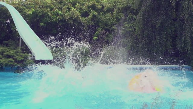 Young Adult  Jumping Diving Pool Party outdoor Summer BBQ video