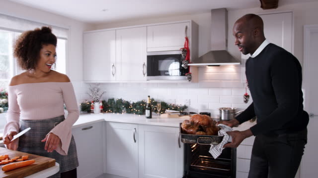 Young adult mixed race couple preparing Christmas dinner together at home, woman cutting vegetables and man basting roast turkey, front view, close up Young adult mixed race couple preparing Christmas dinner together at home, woman cutting vegetables and man basting roast turkey, front view, close up roast dinner stock videos & royalty-free footage