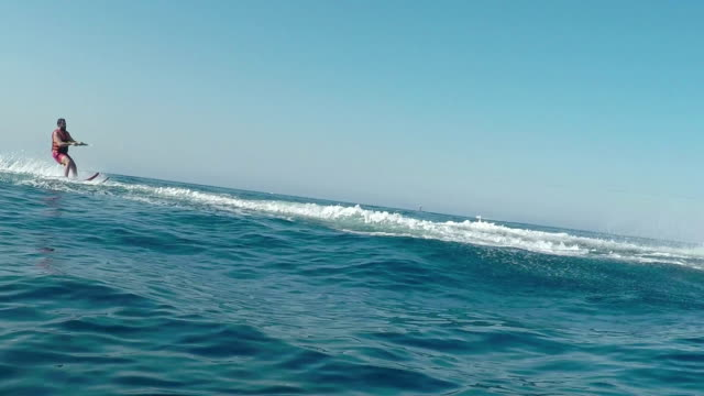 Young adult waterskiing. II video