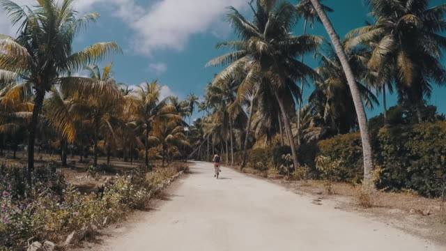 vídeos de stock, filmes e b-roll de jovem adulta ciclismo em seychelles - férias na praia