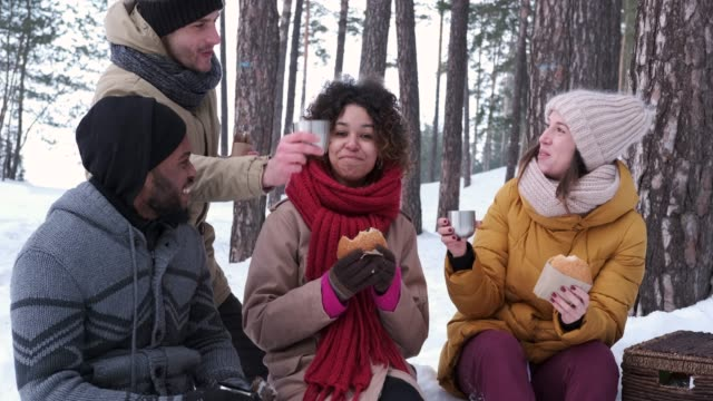 Young adults picnicking in snowy forest Happy friends making a toast with coffee cups while having good time together in snowy forest mug stock videos & royalty-free footage