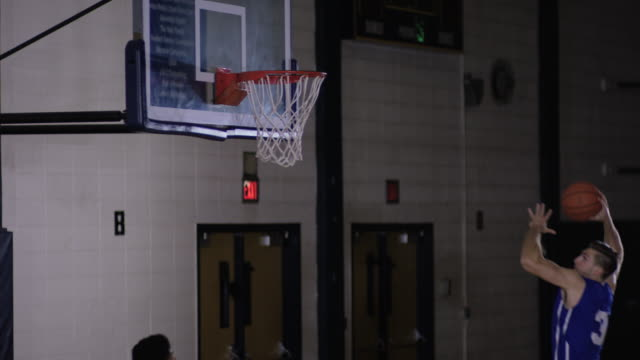 Young adults playing basketball game video