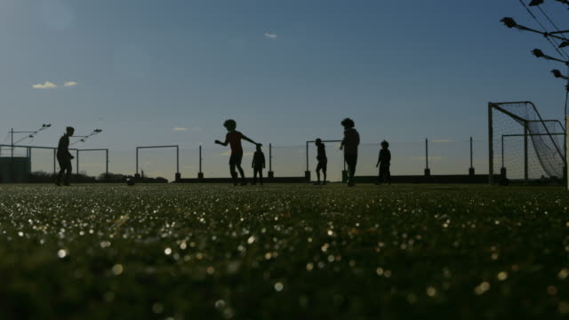 Young adults playing soccer at sunset video