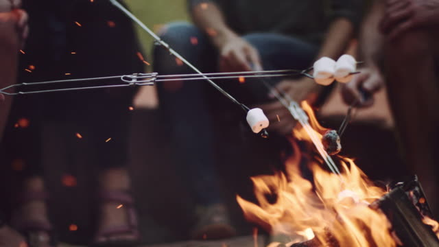 4K UHD: Young Adults Roasting Marshmallows