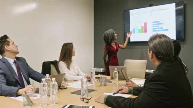 Young African American Businesswoman Giving Presentation in Board Room
