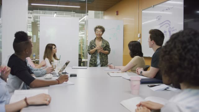 Young African-American Woman Leading Out in Team Discussion A young African-American woman is leading out in a group meeting. The group is gathered around a large conference table in a glass room campus stock videos & royalty-free footage