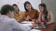 istock Young Asian business women team discuss and present marketing strategy in group meeting with her manager at modern office. Business finance and teamwork concept. 1211746512