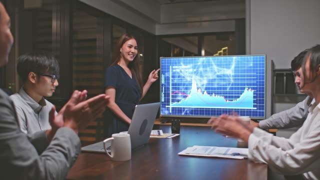 若いアジアのビジネスウーマンは、戦略的な会議のプレゼンテーションでビジネス金融チームのグループをリードし、オフィスで深夜に働きます。マーケティング戦略分析、株式市場取引、� - 投資家点の映像素材/bロール