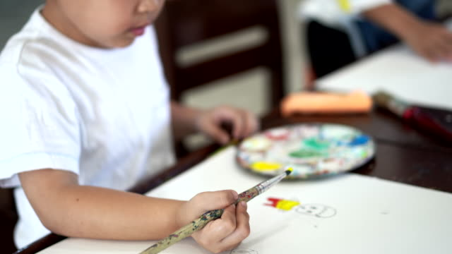 Young Asian children student in art classroom, drawing and confidence at the school.