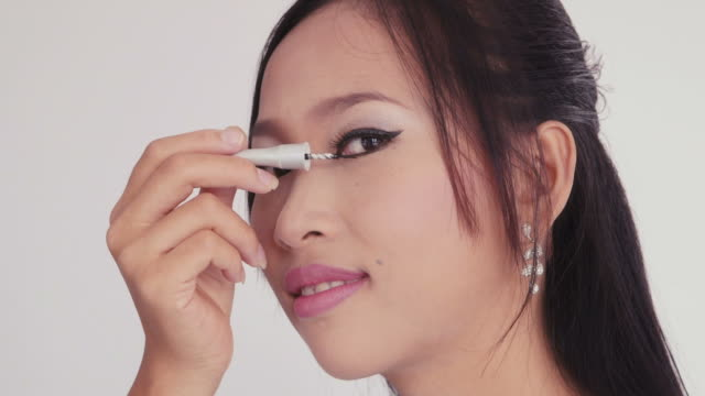 Young asian girl, teenager, woman at home, make-up, female beauty video