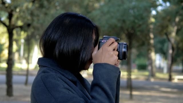 young asian photographer taking photos in the park. art, nature, beauty - lega sportiva amatoriale video stock e b–roll