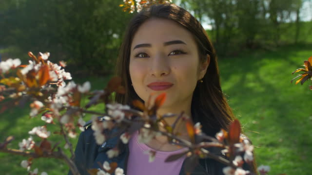 Young asian woman in blooming cherry blossoms garden video