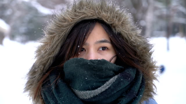 Young Asian Woman in the snowing in Maruyama park, Sapporo, Hokkaido, Japan Young Asian Woman in the snowing in Maruyama park, Sapporo, Hokkaido, Japan shivering stock videos & royalty-free footage