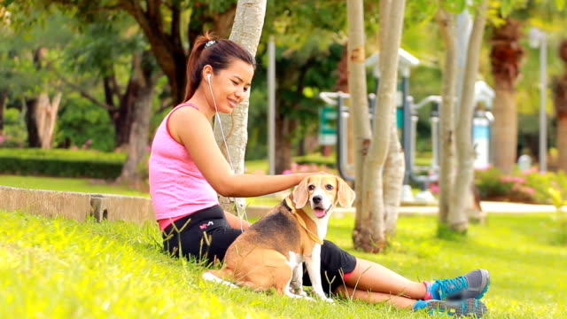 Young asian woman listen music with her dog Young asian woman listen music with her dog hound stock videos & royalty-free footage