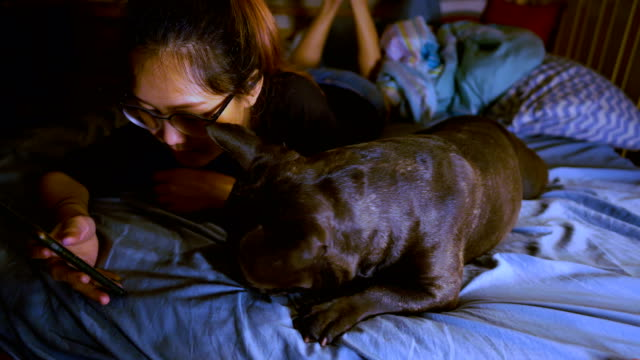 Young Asian woman using mobile phone with french bulldog in bedroom.