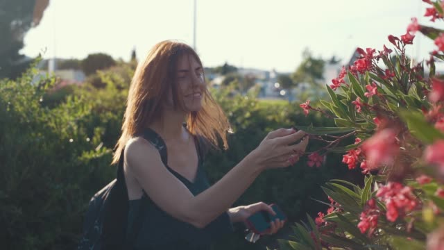 Young attractive red-haired woman enjoying beautiful pink frangipani flowers at sunset in France park