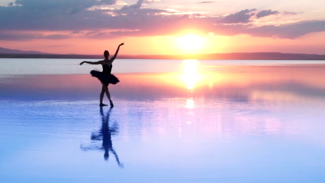 Young Ballerina Dancing on Water video